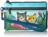 Anuschka Anna By Handpainted Leather Wristlet Organizer Wallet,Two Cats Wallet