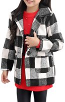 uxcell® Girls Long Sleeves Double Breasted Plaid Worsted Coat