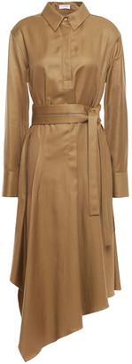 Brunello Cucinelli Asymmetric Pleated Cotton-blend Twill Shirt Dress