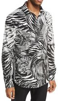 Just Cavalli Palm Leaf & Feather Stretch-Cotton Shirt
