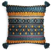 "Sky Indra Tassel Jacquard Fringe Decorative Pillow, 16"" x 16"""