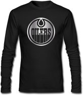 SLIAT Men's Edmonton Oilers Platinum Logo Long Sleeve Tshirts