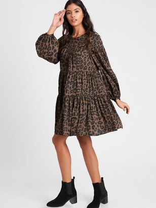 Banana Republic Print Satin Tiered Mini Dress