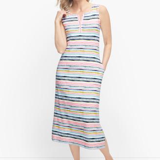 Talbots Painterly Stripe Henley Midi Dress