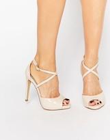 Lipsy Vernetta Nude Patent Cross Strap Heeled Sandals