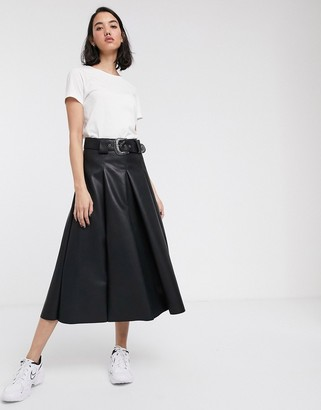 Asos Design DESIGN leather look full midi skirt with western belt-Black