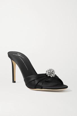 Giuseppe Zanotti Crystal-embellished Satin Mules - Black