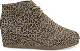 Toms Desert Taupe Cheetah Suede Youth Desert Wedges