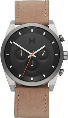 MVMT Element Chronograph Leather Strap Watch, 44mm
