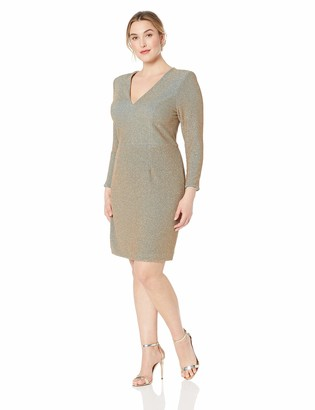 Dress the Population Women's Size Riley Long Sleeve Plunging Short Cocktail Dress Plus