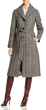 Kate Spade Glen Plaid Belted Long Coat