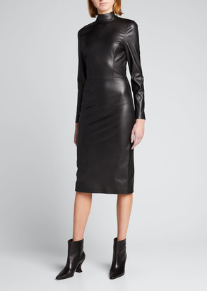 Alice + Olivia Delora Faux-Leather Mock-Neck Dress
