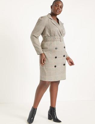 ELOQUII Plaid Puff Sleeve Blazer Dress