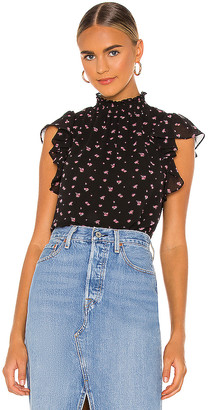 1 STATE Poetic Rosettes Flutter Sleeve Top