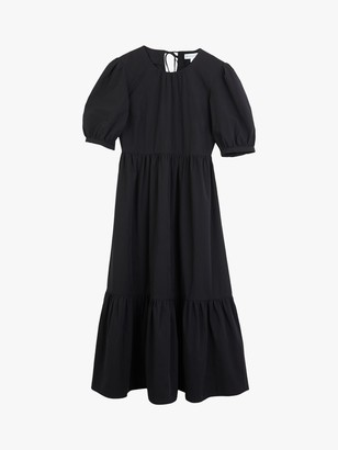 Warehouse Tiered Cotton Midi Dress, Black