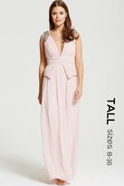 Little Mistress Tall Blush Plunge Peplum Maxi Dress