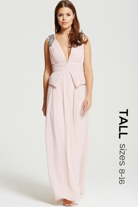 Tall Blush Plunge Peplum Maxi Dress