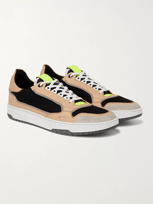 Dunhill Court Pro Suede-Trimmed Mesh And Leather Sneakers