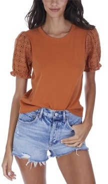 Allison New York Women's Eyelet Poof Sleeve Tee