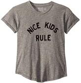 Original Retro Brand The Kids Nice Kids Rule Rolled Short Sleeve Mocktwist Tee (Big Kids) (Mocktwist Heather Grey) Girl's T Shirt