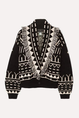 Alanui Fringed Cashmere And Wool-blend Jacquard Cardigan - Black