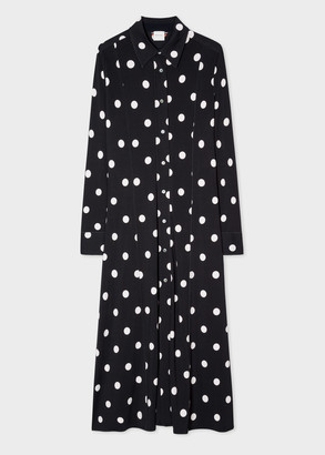 Women's Polka Dot Jersey Shirt Dress