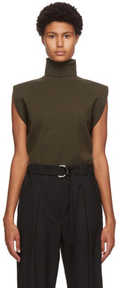 3.1 Phillip Lim Khaki Military Rib Mock Neck Pullover