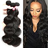 BP B&P Brazilian Hair Brazilian Virgin Body Wave Weave 3 Bundles Unprocessed Remy Virgin Human Hair Extensions Natural Black (14 16 18inches)