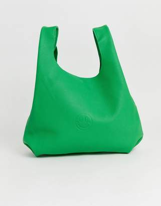 Hill & Friends Hill and Friends Happy leather shopper bag in green