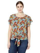 Cover Girl Women's Plus Size Short Sleeve Top Tie Front Blouse Cute Casual