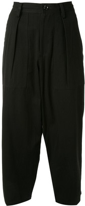 Y's Cropped Pleat-Detail Trousers