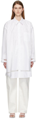 Maison Margiela White Sheer Overlay Shirt Dress