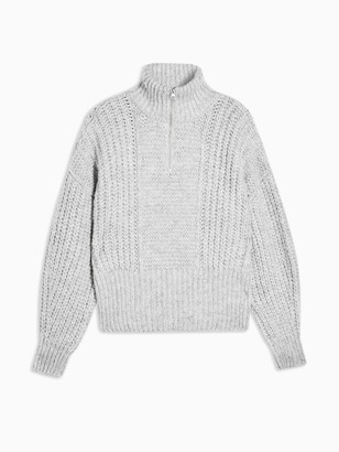 Topshop Half-Zip Jumper - Grey