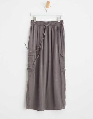 aerie Satin Cargo Slip Skirt
