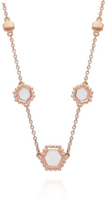 Mother of Pearl Slice Necklace In Rose Gold Plated Silver