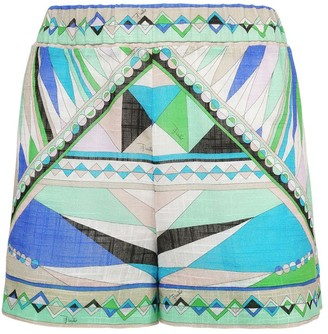 Emilio Pucci Printed Sheer Cotton Shorts