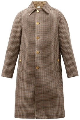 Gucci Reversible Gg And Houndstooth-wool Coat - Brown