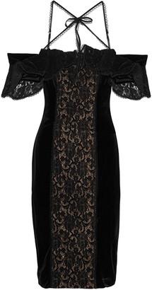 Marchesa Cold-shoulder Lace-paneled Velvet Dress