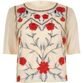 River Island Womens Cream dobby mesh floral embroidered T-shirt