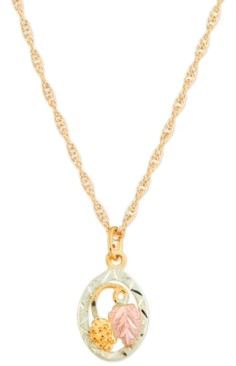 """Black Hills Gold 10K Yellow Gold Pendant 18"""" Necklace with 12K Rose and Green Gold"""