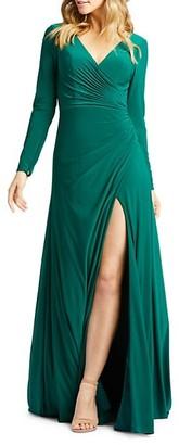 Mac Duggal Long-Sleeve Faux Wrap Gown