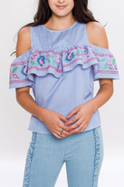 Flying Tomato Embroidered Ruffle Top