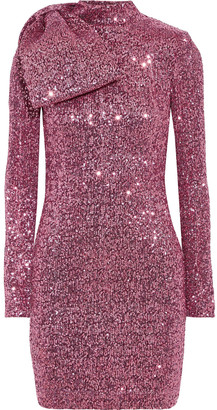 Rebecca Vallance Mona Bow-embellished Sequined Stretch-knit Mini Dress