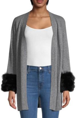 Qi Cashmere Fox-Fur Cuff Cardigan Sweater