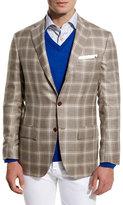 Kiton Menswear Plaid Cashmere-Silk Three-Button Sport Coat, Tan/Crè;me