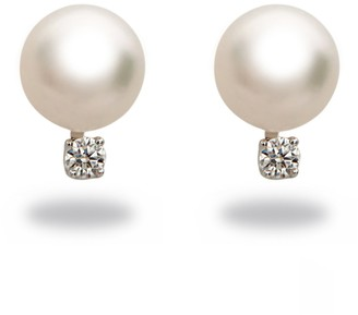 Tara Pearls Natural Color 7mm Akoya Cultured Pearl A+ Quality and Diamond 14k White Gold Earrings .04cttw