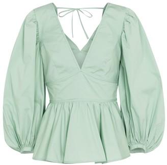STAUD Luna stretch-cotton peplum blouse