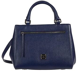 Dooney & Bourke Saffiano Small Zip Satchel (Marine) Handbags