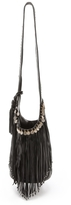Simone Camille Leather Frindge Bag With Stud & Coin Trim
