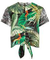 Max Mara Tie Front Tropical Print Top